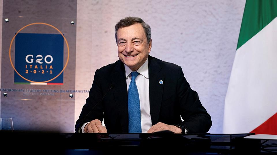 Italian Prime Minister Mario Draghi attends virtually an extraordinary G20 leaders meeting on Afghanistan, in Rome, Italy, on October 12, 2021.