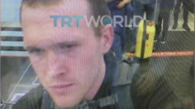Brenton Tarrant, the terrorist behind the New Zealand mosque attack, is seen at a Turkish airport in this image accessed by TRT World.