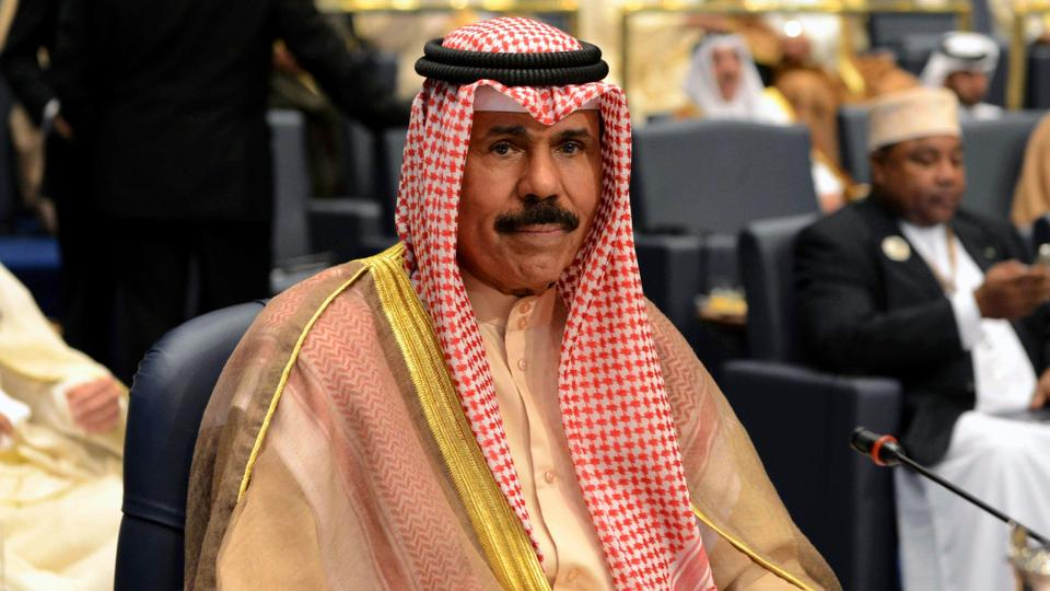 File photo, Kuwait's Crown Prince Sheik Nawaf al Ahmad al Jaber al Sabah attends the closing session of the 25th Arab Summit in Bayan Palace in Kuwait City. He became Kuwait's new ruling emir on September 29, 2020.