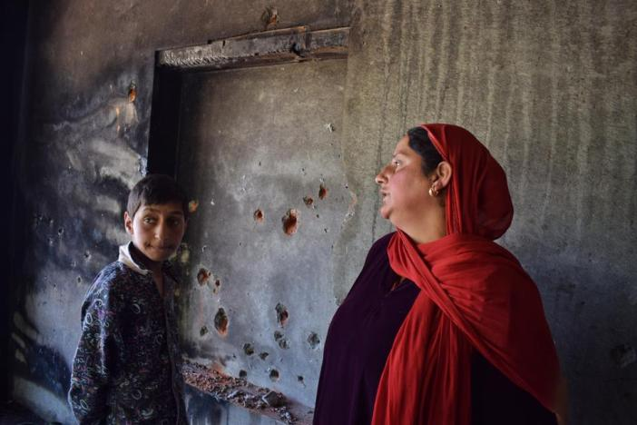 Shaheena Jan, a mother of one from south Kashmir's Pulwama district, explains how the Indian forces used incendiary weapons to damage her house after killing two local rebels on April 30 this year.