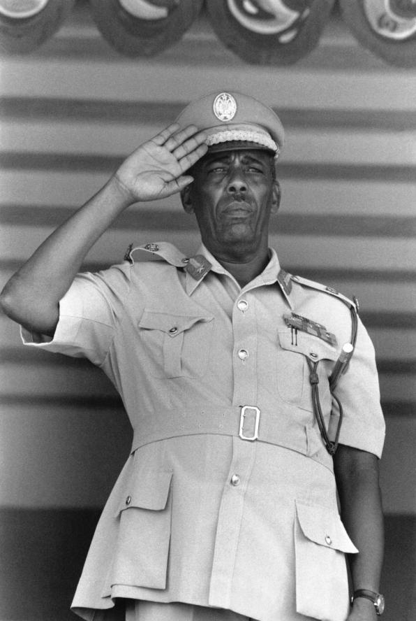 Mohammed Siad Barre during an anniversary parade of the coup in October 1977 (Photo by Jean Claude FRANCOLON/Gamma-Rapho).