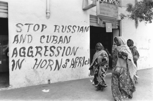 Graffiti on the walls of Somalia's capital Mogadishu denouncing Russo-Cuban intervention in the Ogaden War on the side of Ethiopia. The combined efforts of the Soviet Union and the Cuban army forced Somalia to retreat (Photo by Jean-Claude FRANCOLON / Gamma-Rapho via Getty Images).