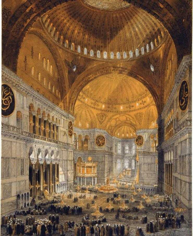 A painting of Hagia Sophia by Gaspare Fossati in 1852 | Great Mosque of AyaSofya - Istanbul, Turkey