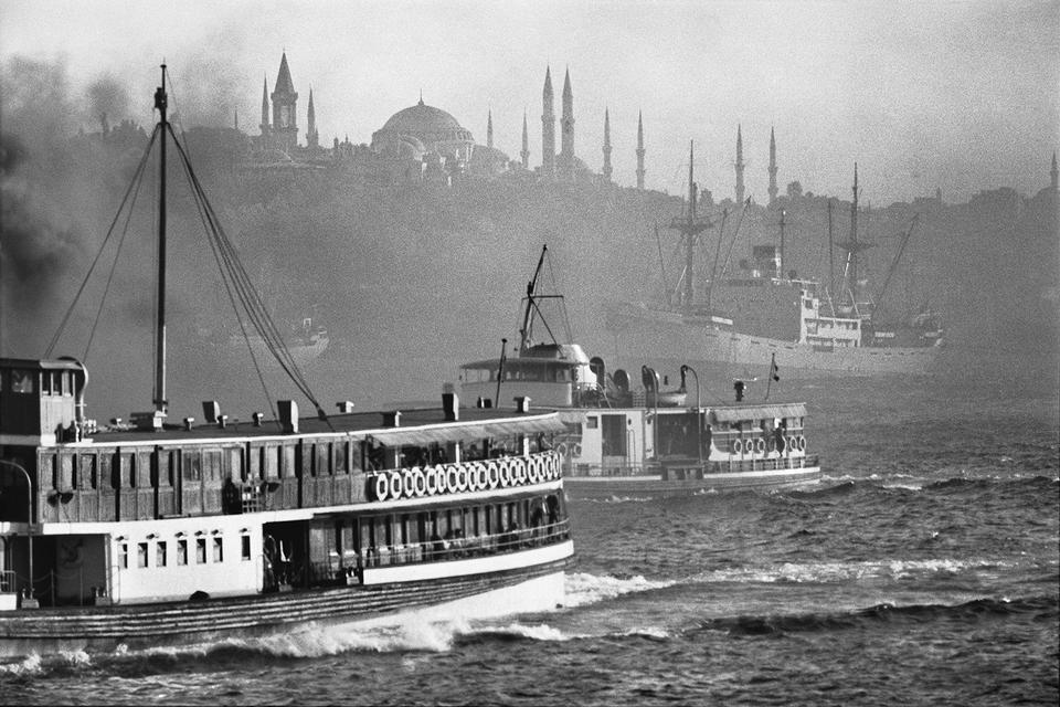 Passenger boats on their way to the Bosporus, the Golden Horn, 1975.