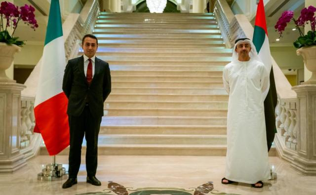 UAE Foreign Minister Sheikh Abdullah bin Zayed Al-Nahyan (R) meeting with Italy's Foreign Minister Luigi Di Maio, in Abu Dhabi in an image provided by UAE News Agency (WAM) on November 9, 2020.