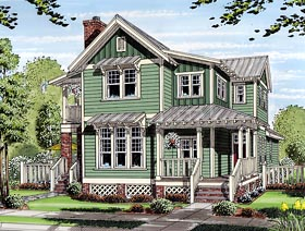 House Plan 30501 at FamilyHomePlans com Bungalow Coastal Cottage Country Farmhouse Traditional House Plan 30501  Elevation