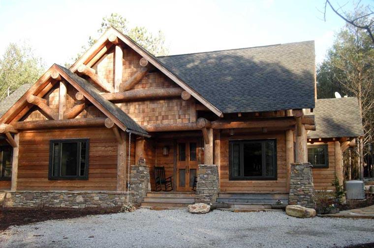 Cabin Craftsman Log House Plan 43214