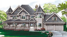 House Plan 55010  Order Code 26WEB at FamilyHomePlans com Farmhouse Victorian House Plan 55010 Elevation