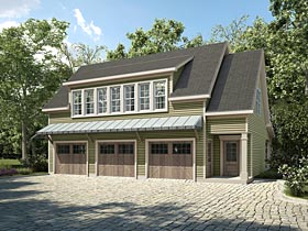 Traditional Style 3 Car Garage Apartment Plan Number 58287 With 1 Bed 2 Bath