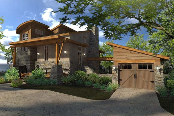 Plan 75140 Contemporary Style House Plan with 2 Bed 2 Bath
