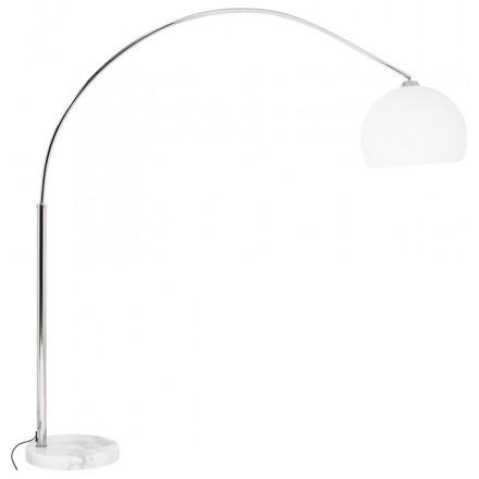 lampe sur pied design moerol small en acier chrome moyenne et blanche