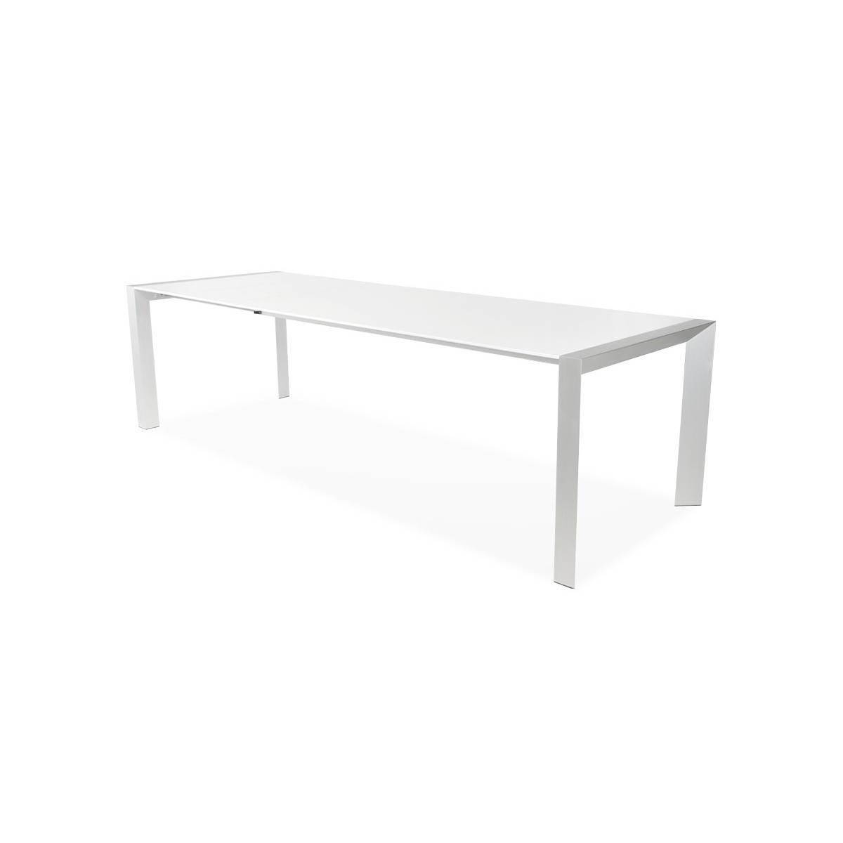 table design avec rallonge fiona en bois laque et aluminium brosse 190 270cmx95cmx75cm blanc amp story 3487