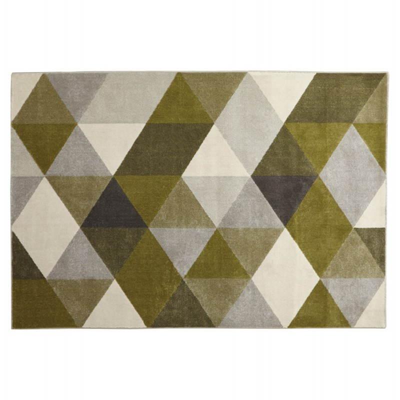 tapis design style scandinave rectangulaire geo 230cm x 160cm vert gris beige scandinave