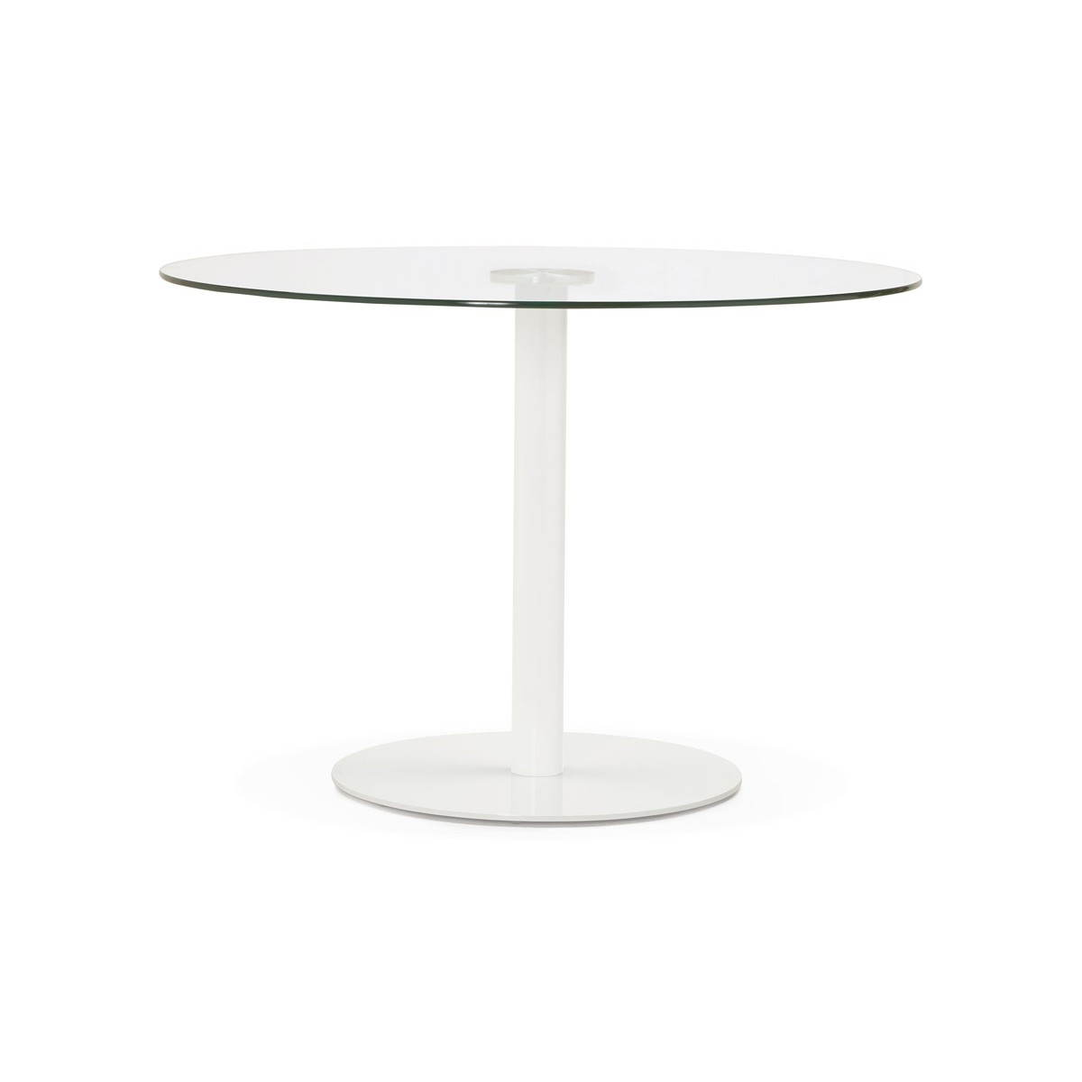 round dining table design elsa in glass and metal o 110 cm transparent amp story 3992