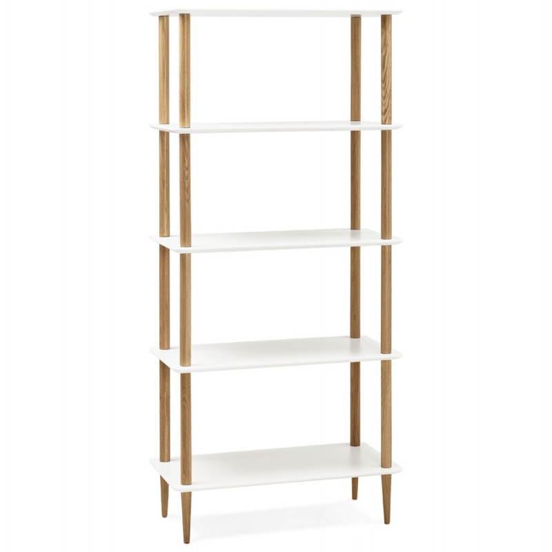 etagere bibliotheque design style scandinave erika en bois blanc etageres