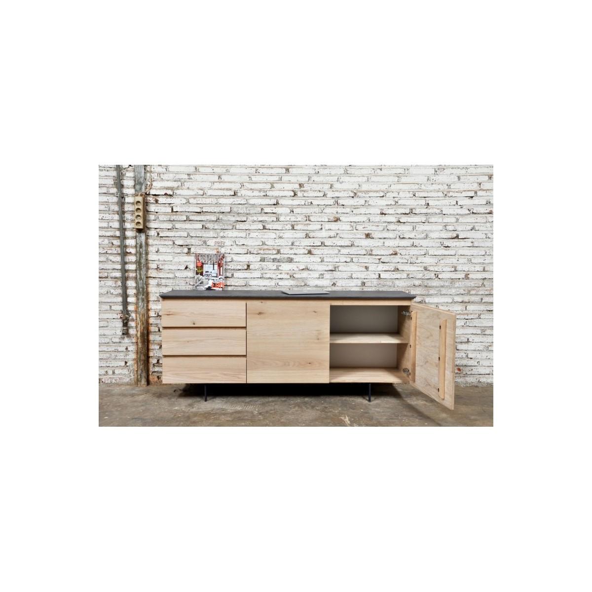buffet design low row 2 doors 3 drawers adria solid oak natural oak amp story 5379