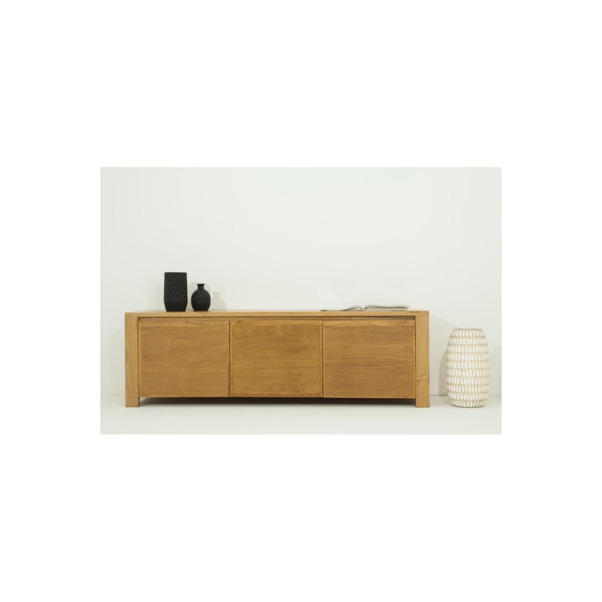 meuble tv bas contemporain 3 portes anatoly en teck massif naturel amp story 5393