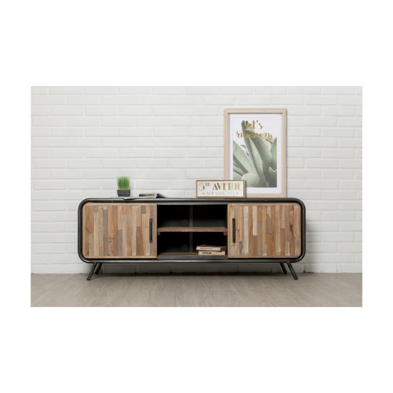 meuble tv bas 2 portes 2 niches industriel 150 cm benoit en teck massif recycle et metal meuble tv