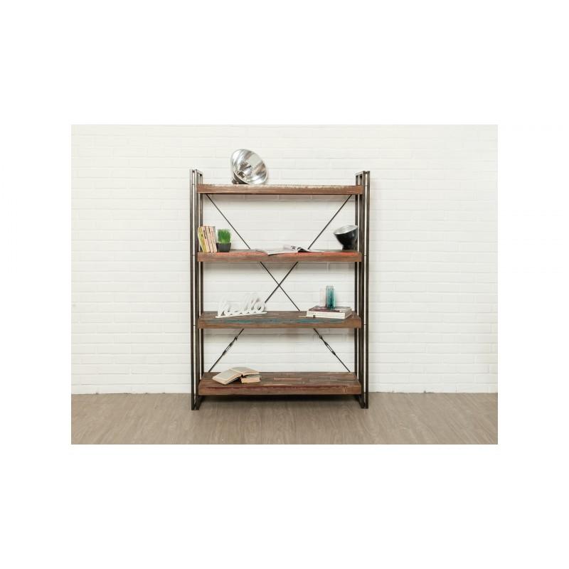 etagere bibliotheque industriel 120 cm noah en teck massif recycle et metal vitrine argentier vaisselier bibliotheque