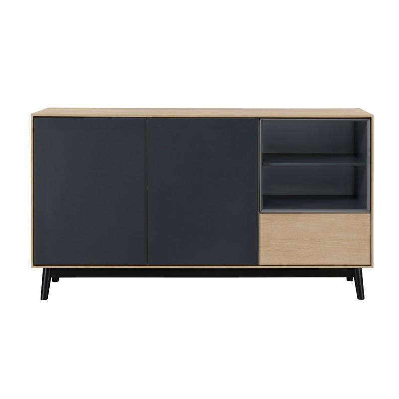 buffet enfilade design 2 portes 2 niches 1 tiroir adamo en bois 150 cm chene clair meuble de rangement buffet enfilade console