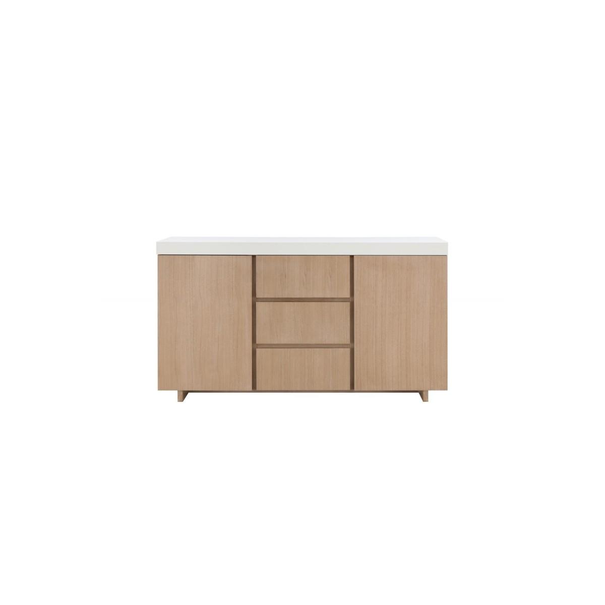 buffet enfilade 2 portes 3 tiroirs design et scandinave emma en bois chene clair blanc amp story 5483