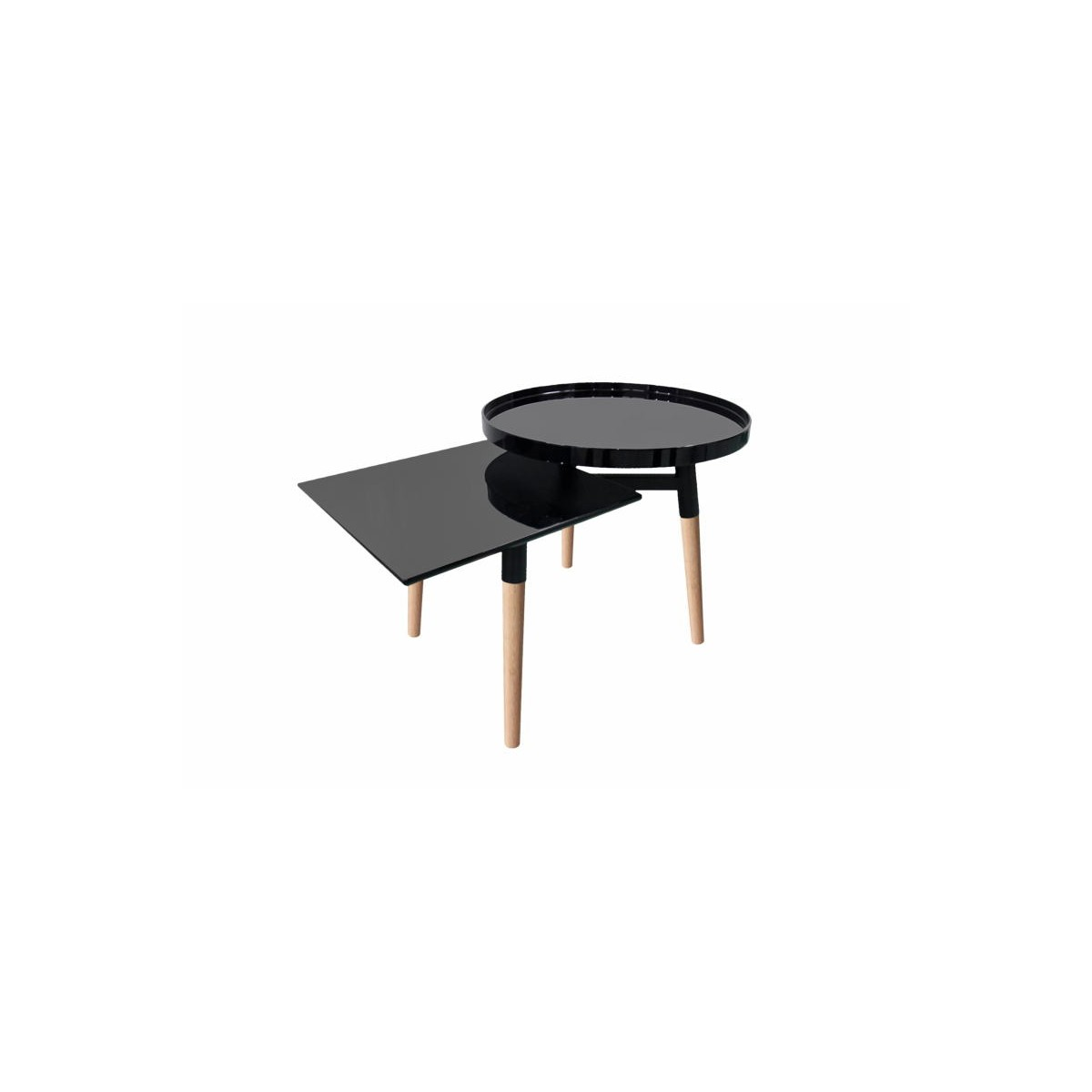 side table 2 trays side table emilie in metal and wood black amp story 6262
