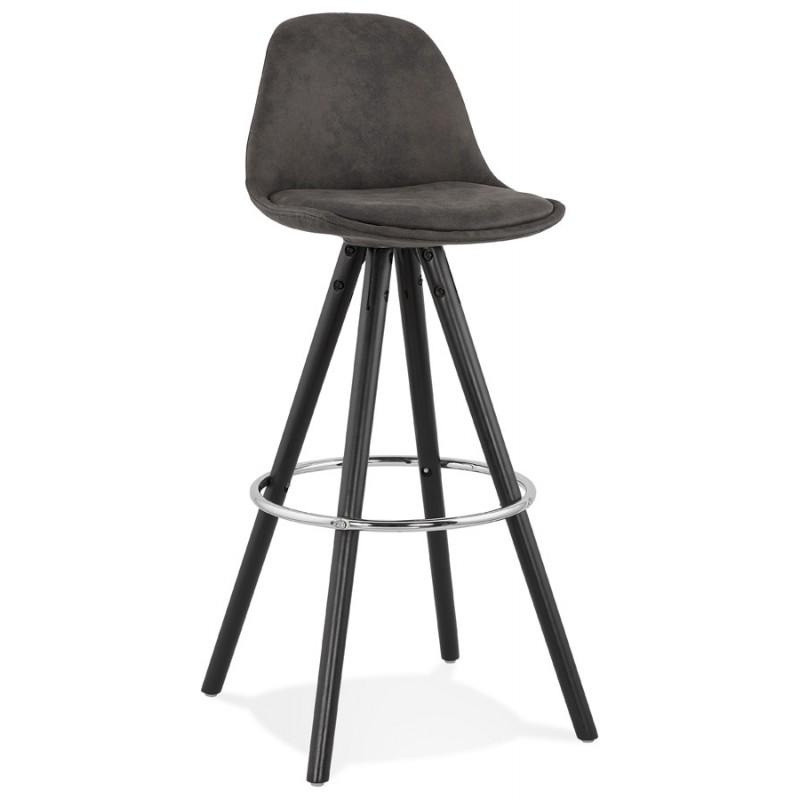 tabouret de bar vintage en microfibre pieds bois noir talia gris fonce tabouret de bar chaise de bar