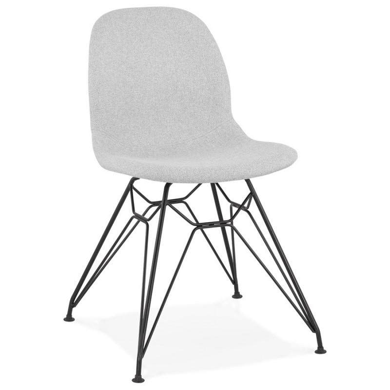 chaise design industrielle en tissu pieds metal noir mouna gris clair chaises
