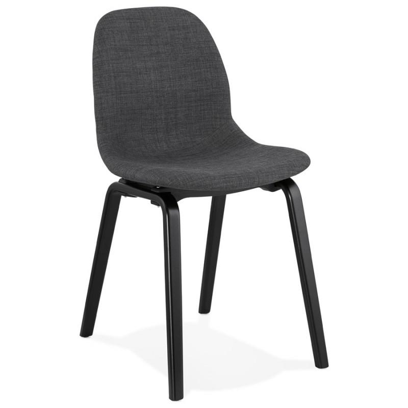chaise design et contemporaine en tissu pieds bois noir martina gris anthracite chaises