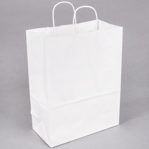 """White Paper Shopping Bag with Handles 10"""" x 5"""" x 13"""" - 250 ..."""