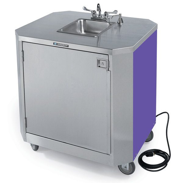 lakeside 9610p portable self contained stainless steel hand sink cart with hot cold water faucet soap dispenser and purple finish 120v