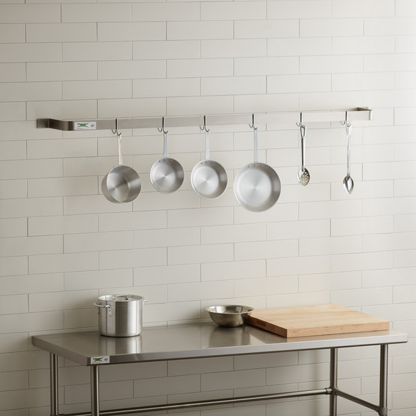 regency 72 stainless steel wall mounted single line pot rack with 6 double prong hooks