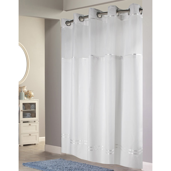 hookless hbh40e257 white with white stripe escape shower curtain with chrome raised flex on rings it s a snap polyester liner with magnets and