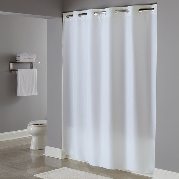 hookless hbh40plw01 white plainweave shower curtain with matching flat flex on rings and weighted corner magnets 71 x 74