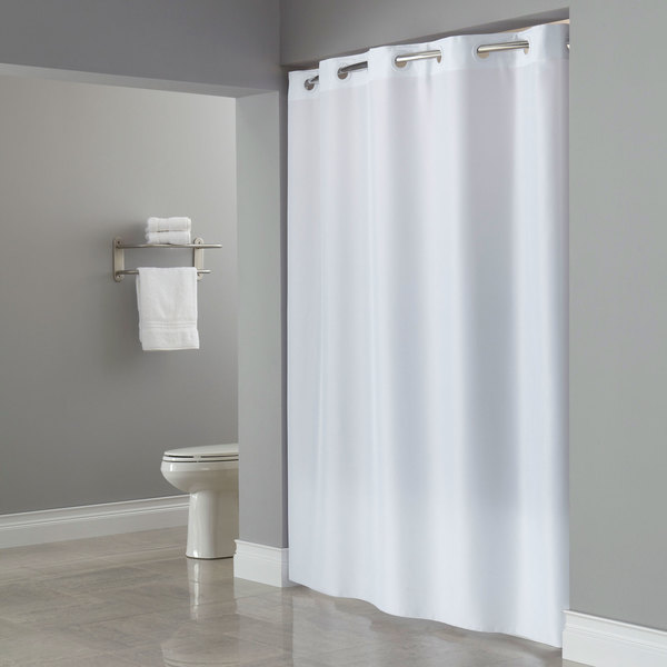 hookless hbh40plw01l white ada size plainweave shower curtain with matching flat flex on rings and weighted corner magnets 71 x 80