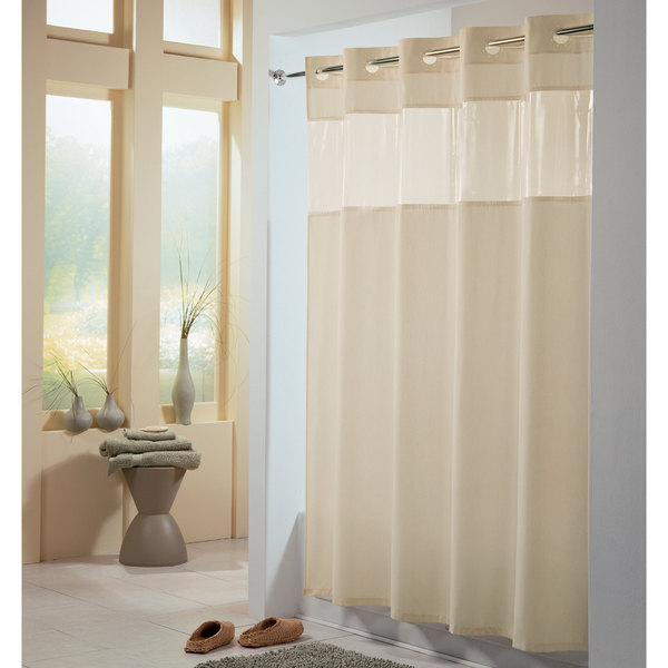 hookless hbh49peh05 beige view from the top shower curtain with matching flat flex on rings weighted corner magnets and vinyl window 71 x 74
