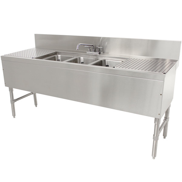 advance tabco prb 24 53c 3 compartment prestige series underbar sink with 2 12 drainboards and deck mount faucet 25 x 60