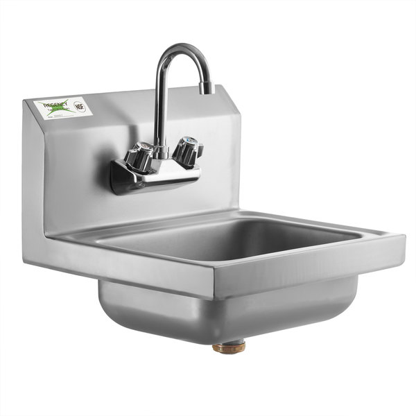 regency 17 x 15 wall mounted hand sink with gooseneck faucet
