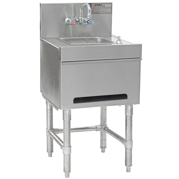 eagle group hsd18 19 spec bar 20 gauge stainless steel hand sink with soap dispenser paper towel dispenser and wall mount faucet 18 x 19