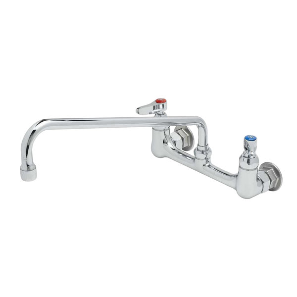 t s b 2299 wall mounted faucet with 14 swing spout 23 09 gpm stream regulator 8 adjustable centers and lever handles