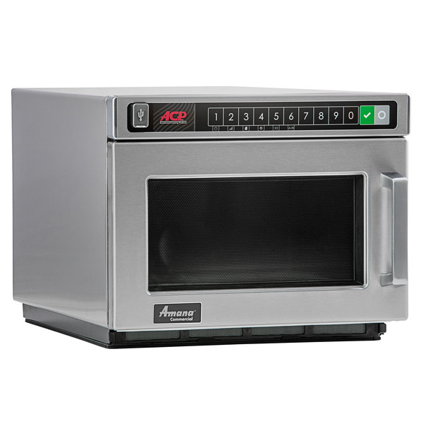 amana hdc12a2 heavy duty stainless steel commercial microwave with push button controls 120v 1200w