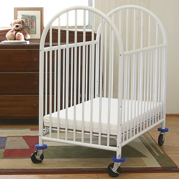L A Baby 24 X 38 White Deluxe Arched Mini Crib With 3 Mattress