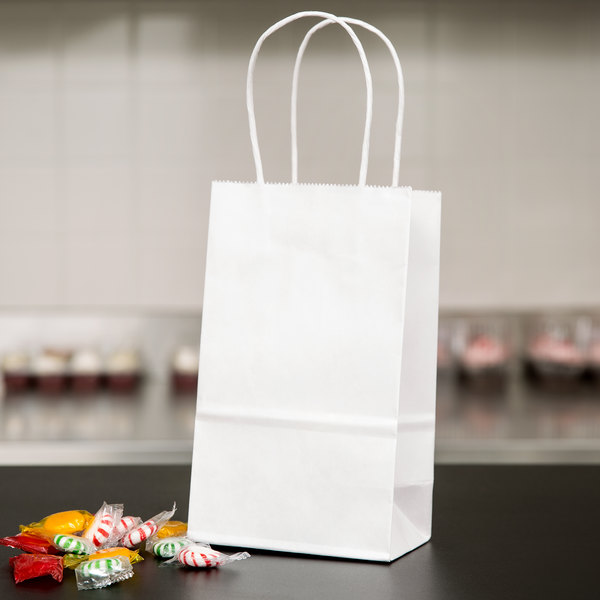 """Duro Gem White Paper Shopping Bag with Handles 5 1/4"""" x 3 ..."""