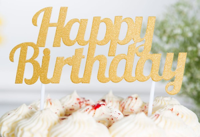 Creative Converting 324540 Gold Glitter Happy Birthday Cake Topper