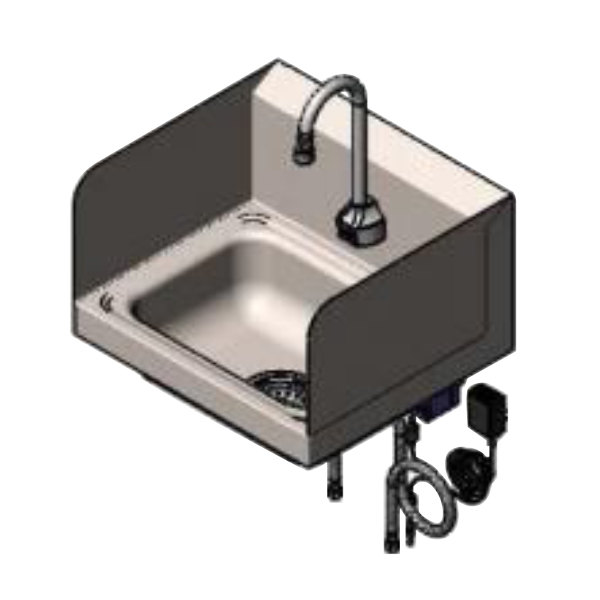 t s ch 3101 s 17 1 4 x 15 1 4 hand sink with deck mount chekpoint electronic 11 gooseneck faucet with drain assembly and splash guards