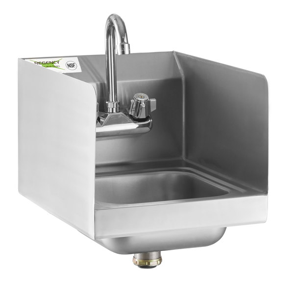 regency 12 x 16 wall mounted hand sink with gooseneck faucet and side splash