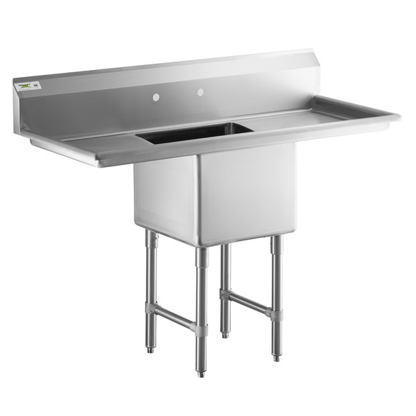regency 54 16 gauge stainless steel one compartment commercial sink with 2 drainboards 18 x 18 x 14 bowl