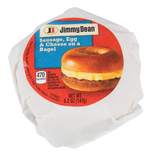 jimmy dean 5 2 oz sausage egg and cheese breakfast bagel sandwich 12 case