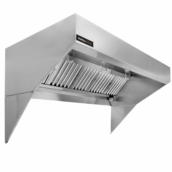 halifax lscho1048 type 1 10 x 48 low ceiling sloped front commercial kitchen hood with short cycle makeup air hood only
