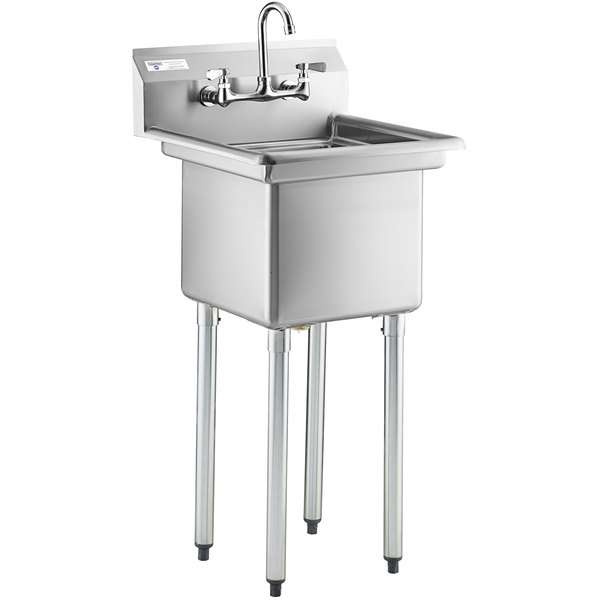 steelton 20 3 4 18 gauge stainless steel one compartment commercial sink with faucet 15 x 15 x 12 bowl